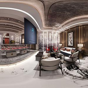 新中式茶室會所全景模型
