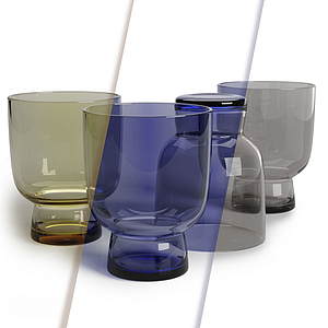 現代多彩玻璃杯模型