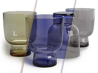 現代多彩玻璃杯模型3d模型