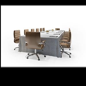 現代會議桌椅組合模型