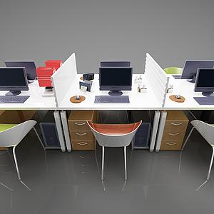 3d<font class='myIsRed'>辦公桌</font>椅組合模型