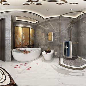 新中式淋浴间全景模型