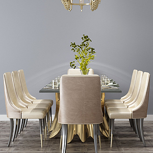 3d餐桌組合模型