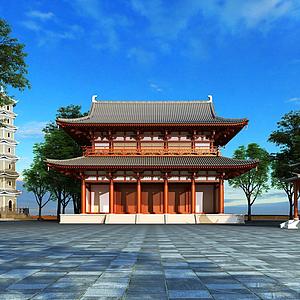 3d古建筑亭子閣樓模型