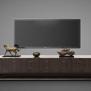 新中式風格電視柜模型