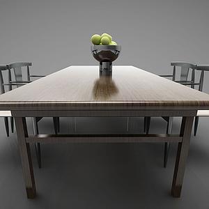 3d<font class='myIsRed'>新中式</font>风格的餐桌模型