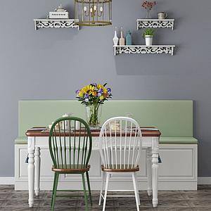 3d田園風餐桌椅模型