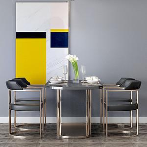 3d餐桌椅金屬模型