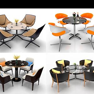 3d現代圓形洽談餐桌椅組合模型