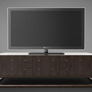 新中式風格的電視柜模型
