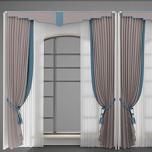 新中式風格窗簾模型