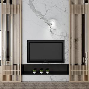 中式電視背景墻模型