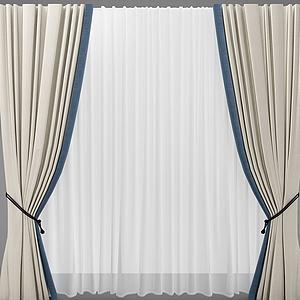 新中式風格的窗簾模型