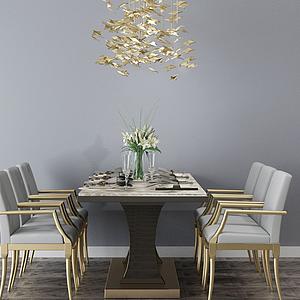 3d歐式餐桌組合模型