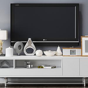 現代電視柜飾品擺件組合模型