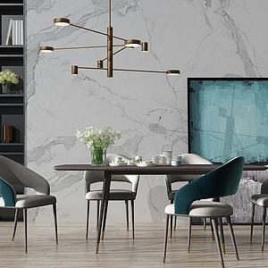3d现代北欧餐桌椅模型