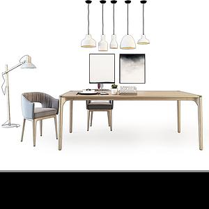 3d北欧餐桌椅组合模型