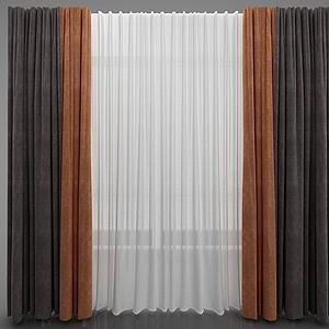 現代簡約窗簾模型