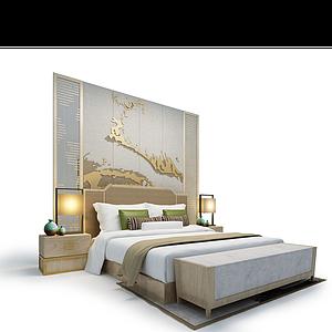 3d酒店<font class='myIsRed'>現代</font>床模型