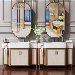 新中式洗手臺衛浴柜模型