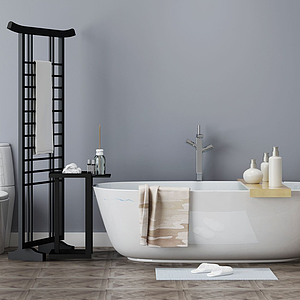 現代簡約浴缸衛浴組合模型