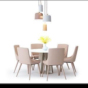 3d北欧餐桌椅吊灯组合模型