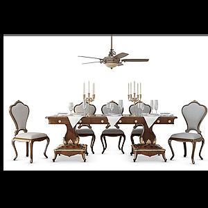 3d歐式<font class='myIsRed'>餐桌</font>椅模型