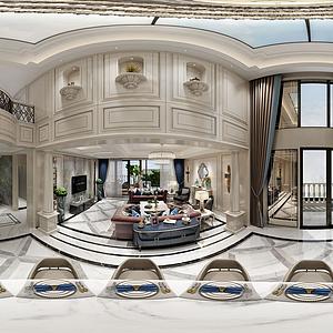 歐式別墅客餐廳全景模型