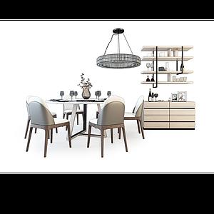 3d<font class='myIsRed'>餐桌</font>椅組合模型