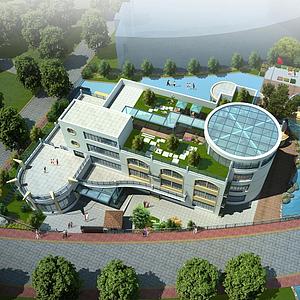 3d辦公樓學校鳥瞰模型