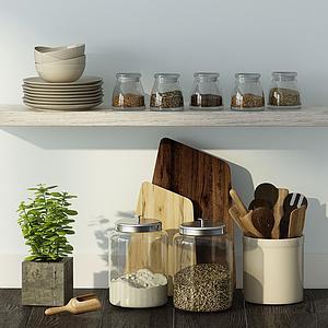 現代家庭廚房用品組合模型