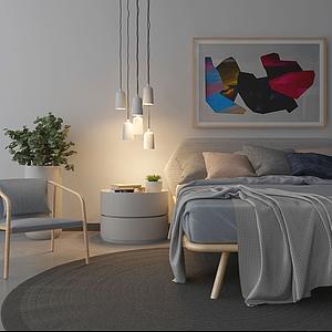 3d北欧清晰床具原木单椅模型