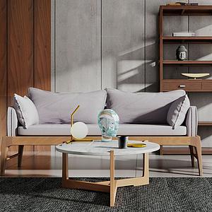 現代新中式沙發茶幾組合模型