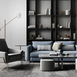客廳沙發茶幾組合模型
