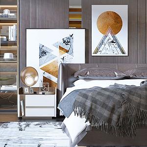 現代棕色床具單椅組合模型