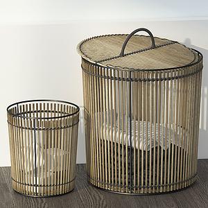 工業風復古木條衣服收納桶模型