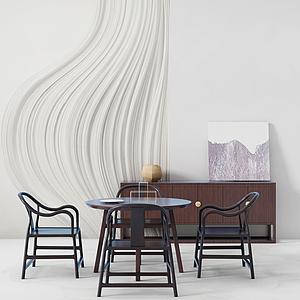 新中式餐桌椅組合6模型