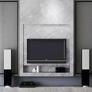 簡約電視背景墻模型