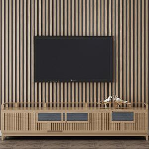 室內裝修木質電視背景墻模型