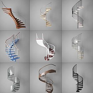 現代簡約風格樓梯模型