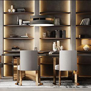 現代輕奢餐桌椅組合模型