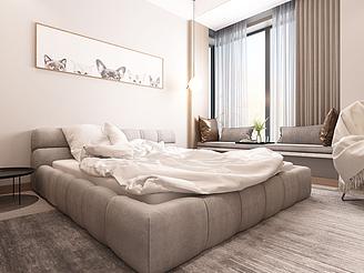 現代簡約北歐灰色雙人床模型