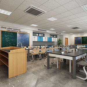 3d現代學校實驗室模型