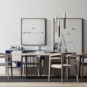 現代新中式餐桌椅組合模型
