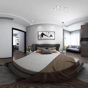 現代簡約臥室全景模型