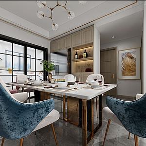 3d餐廳桌椅模型
