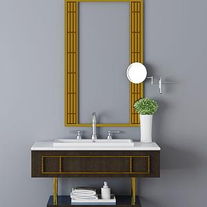 現代簡約洗手臺模型