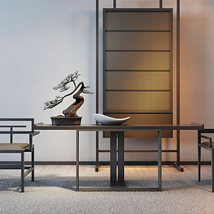 新中式餐桌椅組合模型