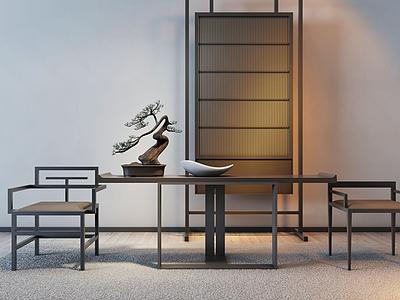 3d<font class='myIsRed'>新中式</font>餐桌椅組合模型