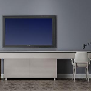 現代簡約電視柜組合模型